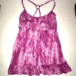 Tie Dye Pink Tank Top Built In Bra Women's Large
